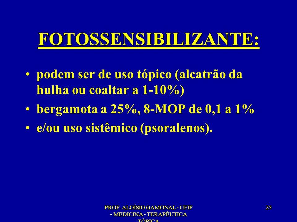 PROF. ALOÍSIO GAMONAL - UFJF - MEDICINA - TERAPÊUTICA TÓPICA 25 FOTOSSENSIBILIZANTE: podem ser de uso tópico (alcatrão da hulha ou coaltar a 1-10%) be