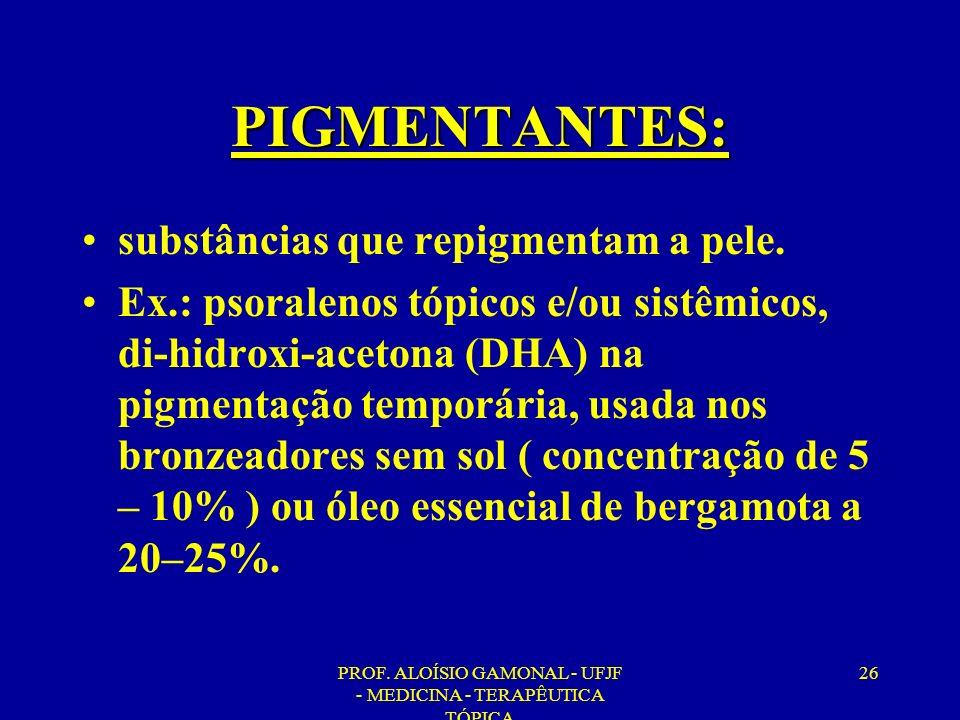 PROF. ALOÍSIO GAMONAL - UFJF - MEDICINA - TERAPÊUTICA TÓPICA 26 PIGMENTANTES: substâncias que repigmentam a pele. Ex.: psoralenos tópicos e/ou sistêmi