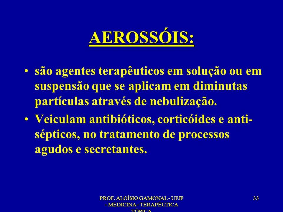 PROF. ALOÍSIO GAMONAL - UFJF - MEDICINA - TERAPÊUTICA TÓPICA 33 AEROSSÓIS: são agentes terapêuticos em solução ou em suspensão que se aplicam em dimin