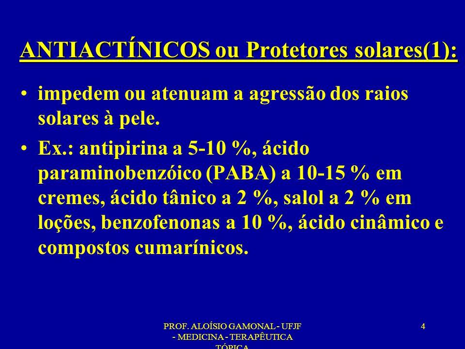 PROF.ALOÍSIO GAMONAL - UFJF - MEDICINA - TERAPÊUTICA TÓPICA 65 Produtos com FPS acima de 30.