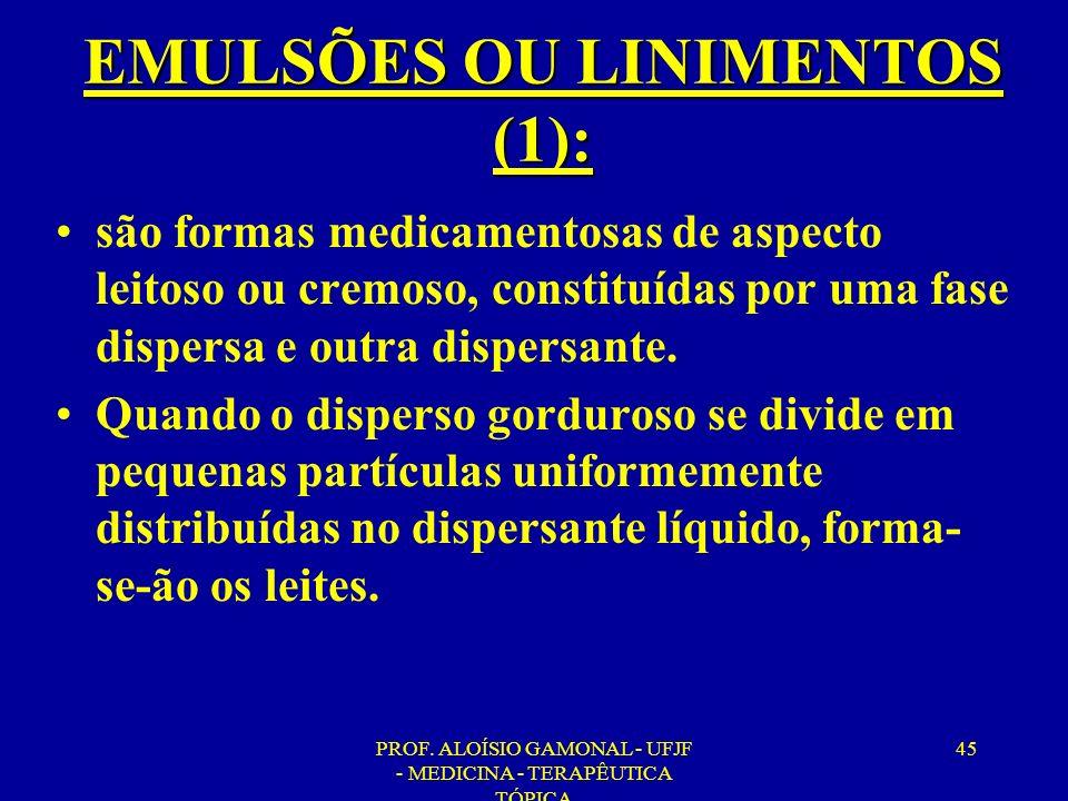 PROF. ALOÍSIO GAMONAL - UFJF - MEDICINA - TERAPÊUTICA TÓPICA 45 EMULSÕES OU LINIMENTOS (1): são formas medicamentosas de aspecto leitoso ou cremoso, c