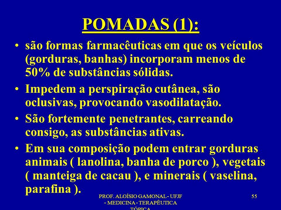 PROF. ALOÍSIO GAMONAL - UFJF - MEDICINA - TERAPÊUTICA TÓPICA 55 POMADAS (1): são formas farmacêuticas em que os veículos (gorduras, banhas) incorporam