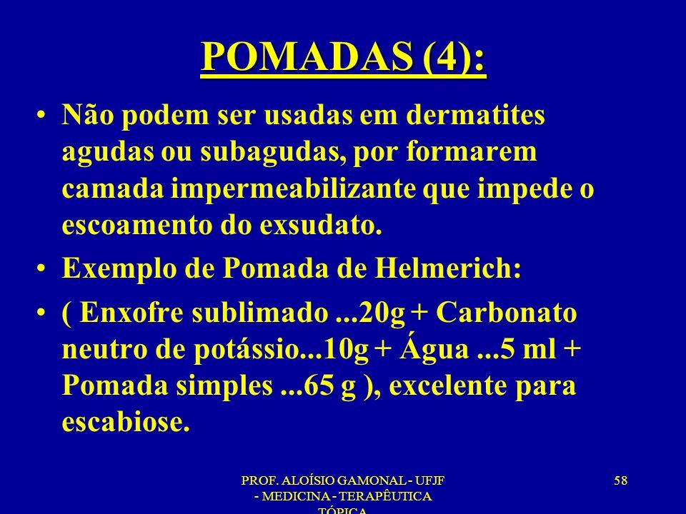 PROF. ALOÍSIO GAMONAL - UFJF - MEDICINA - TERAPÊUTICA TÓPICA 58 POMADAS (4): Não podem ser usadas em dermatites agudas ou subagudas, por formarem cama