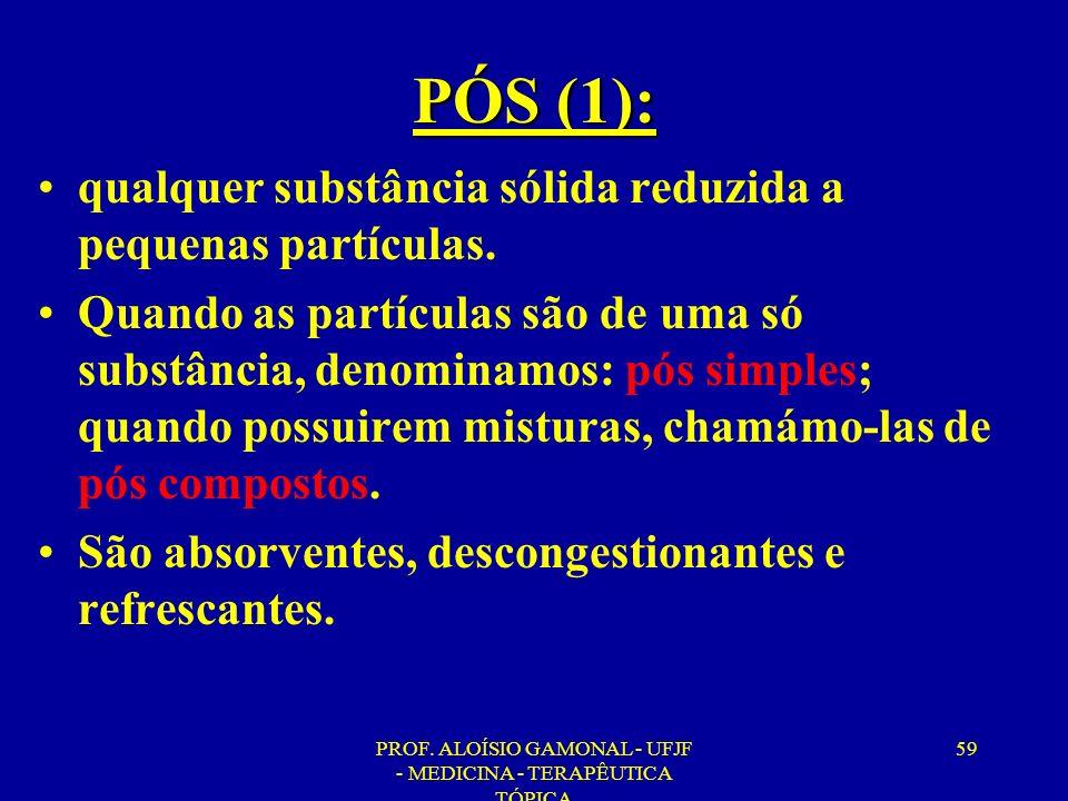 PROF. ALOÍSIO GAMONAL - UFJF - MEDICINA - TERAPÊUTICA TÓPICA 59 PÓS (1): qualquer substância sólida reduzida a pequenas partículas. Quando as partícul