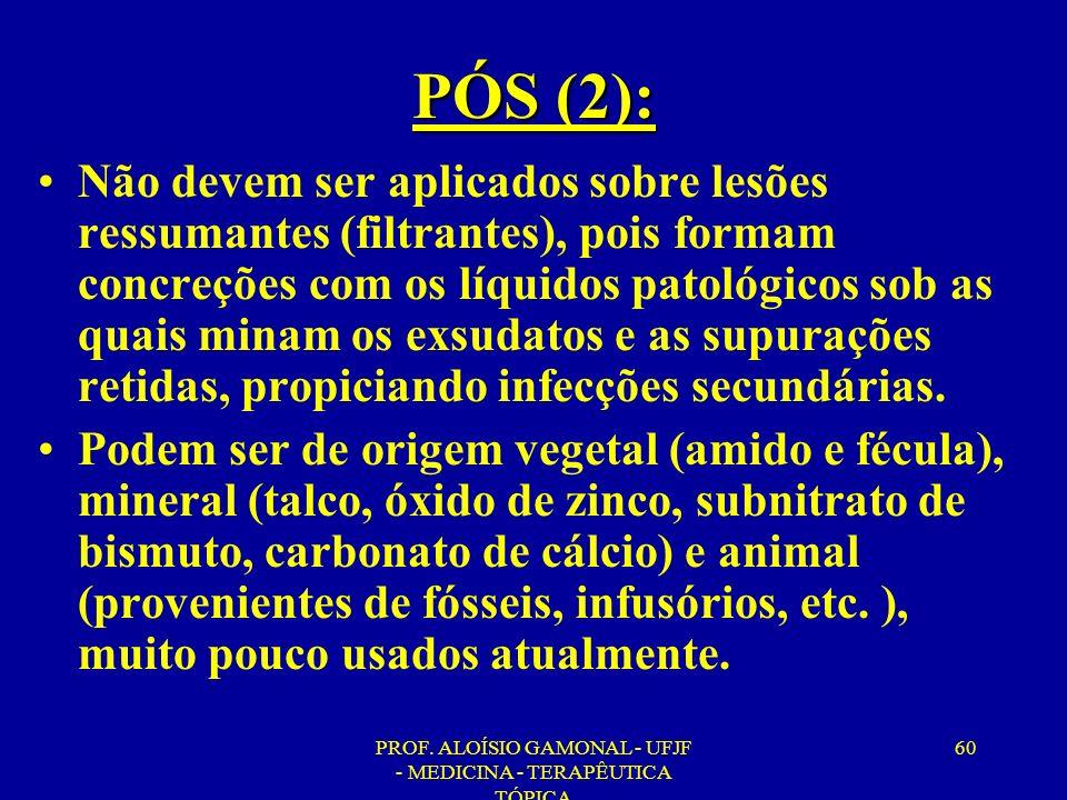 PROF. ALOÍSIO GAMONAL - UFJF - MEDICINA - TERAPÊUTICA TÓPICA 60 PÓS (2): Não devem ser aplicados sobre lesões ressumantes (filtrantes), pois formam co