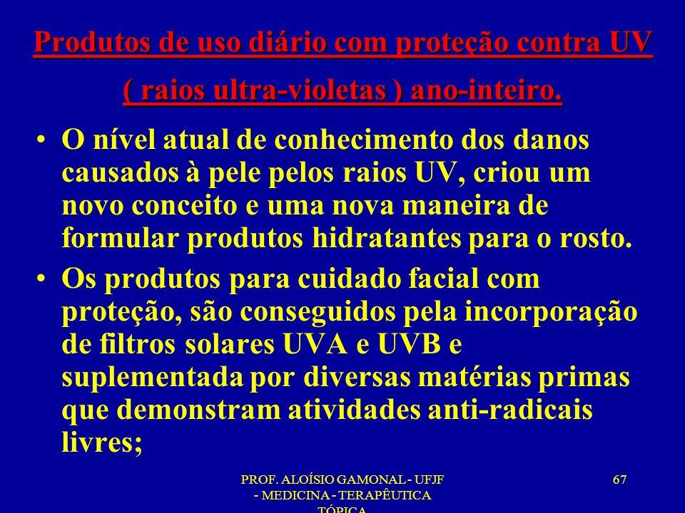 PROF. ALOÍSIO GAMONAL - UFJF - MEDICINA - TERAPÊUTICA TÓPICA 67 Produtos de uso diário com proteção contra UV ( raios ultra-violetas ) ano-inteiro. O