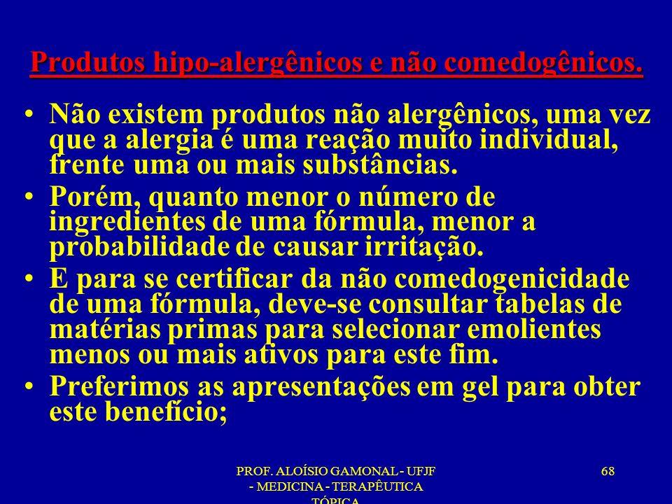 PROF. ALOÍSIO GAMONAL - UFJF - MEDICINA - TERAPÊUTICA TÓPICA 68 Produtos hipo-alergênicos e não comedogênicos. Não existem produtos não alergênicos, u