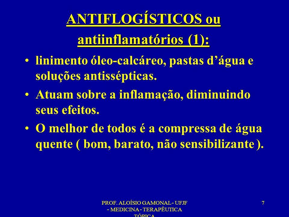 PROF. ALOÍSIO GAMONAL - UFJF - MEDICINA - TERAPÊUTICA TÓPICA 7 ANTIFLOGÍSTICOS ou antiinflamatórios (1): linimento óleo-calcáreo, pastas dágua e soluç