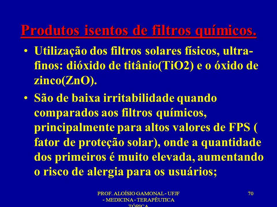 PROF. ALOÍSIO GAMONAL - UFJF - MEDICINA - TERAPÊUTICA TÓPICA 70 Produtos isentos de filtros químicos. Utilização dos filtros solares físicos, ultra- f