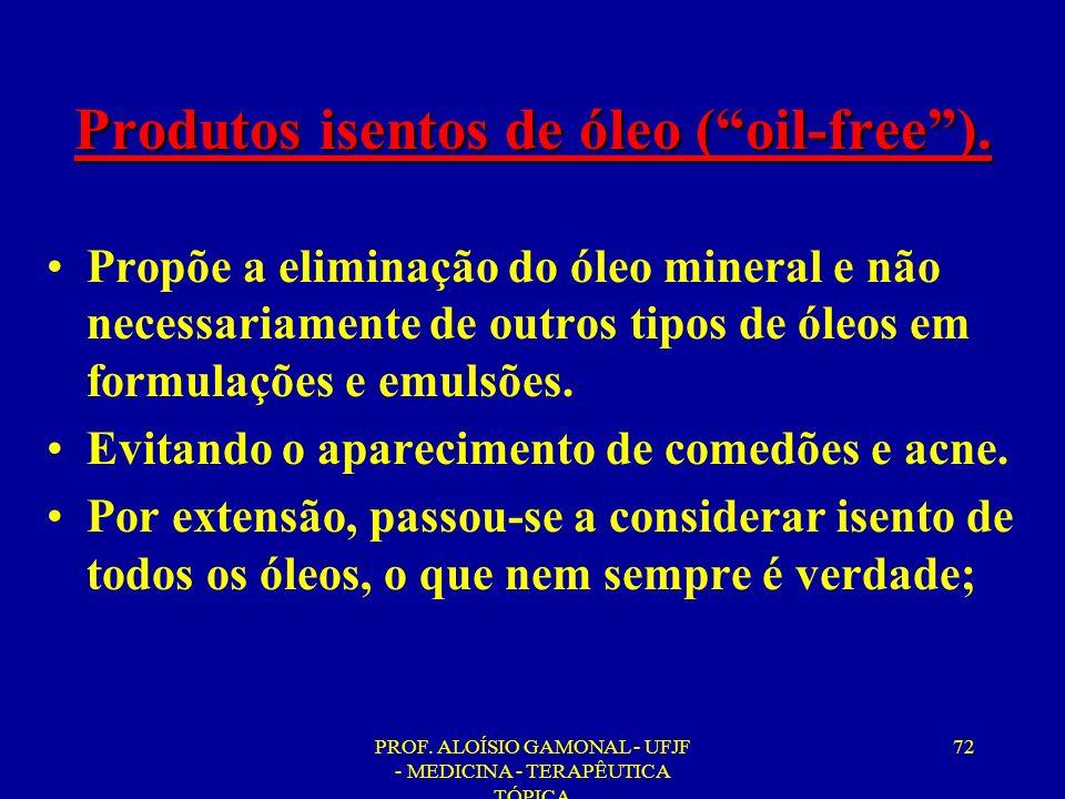 PROF. ALOÍSIO GAMONAL - UFJF - MEDICINA - TERAPÊUTICA TÓPICA 72 Produtos isentos de óleo (oil-free). Propõe a eliminação do óleo mineral e não necessa