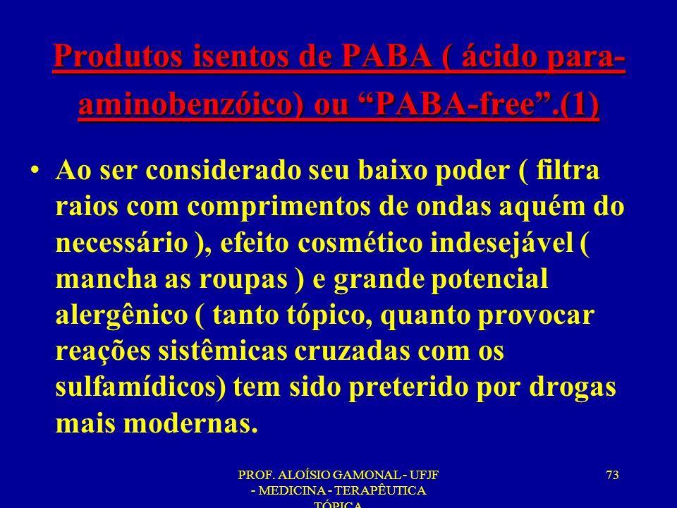 PROF. ALOÍSIO GAMONAL - UFJF - MEDICINA - TERAPÊUTICA TÓPICA 73 Produtos isentos de PABA ( ácido para- aminobenzóico) ou PABA-free.(1) Ao ser consider
