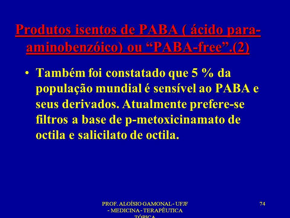 PROF. ALOÍSIO GAMONAL - UFJF - MEDICINA - TERAPÊUTICA TÓPICA 74 Produtos isentos de PABA ( ácido para- aminobenzóico) ou PABA-free.(2) Também foi cons