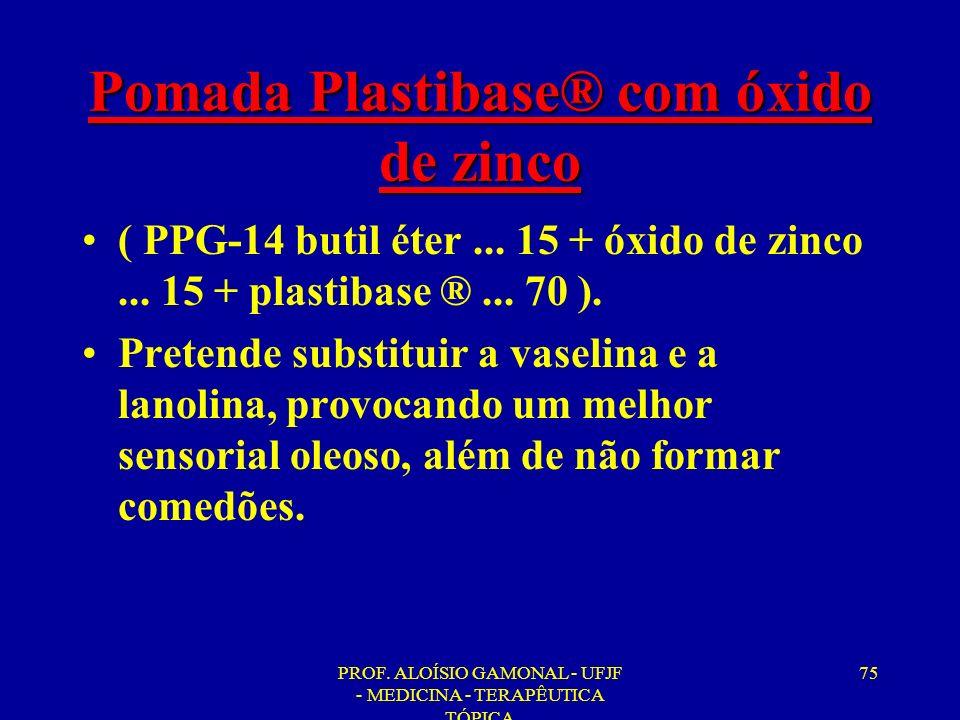 PROF. ALOÍSIO GAMONAL - UFJF - MEDICINA - TERAPÊUTICA TÓPICA 75 Pomada Plastibase® com óxido de zinco ( PPG-14 butil éter... 15 + óxido de zinco... 15