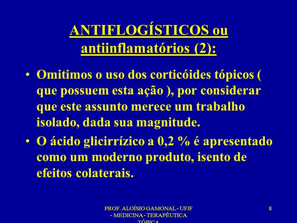 PROF. ALOÍSIO GAMONAL - UFJF - MEDICINA - TERAPÊUTICA TÓPICA 8 ANTIFLOGÍSTICOS ou antiinflamatórios (2): Omitimos o uso dos corticóides tópicos ( que