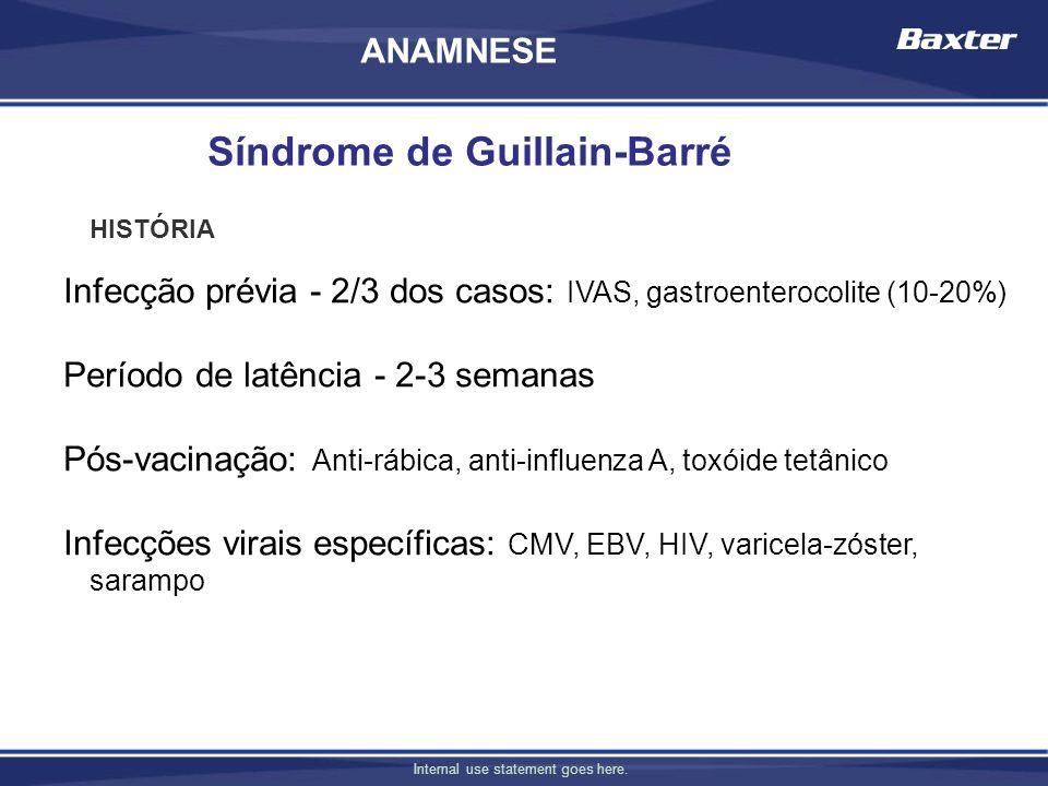 Internal use statement goes here. Infecção prévia - 2/3 dos casos: IVAS, gastroenterocolite (10-20%) Período de latência - 2-3 semanas Pós-vacinação: