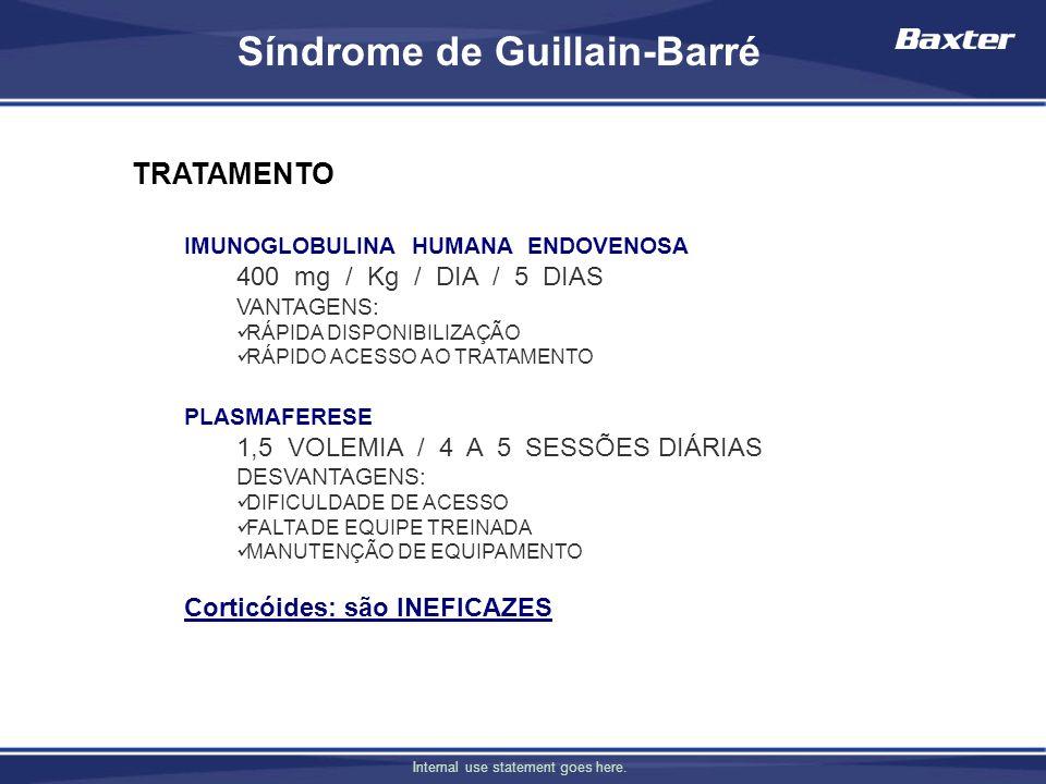 Internal use statement goes here. TRATAMENTO IMUNOGLOBULINA HUMANA ENDOVENOSA 400 mg / Kg / DIA / 5 DIAS VANTAGENS: RÁPIDA DISPONIBILIZAÇÃO RÁPIDO ACE