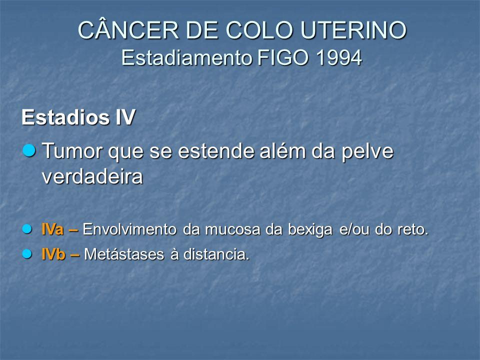 CÂNCER DE COLO UTERINO Estadiamento FIGO 1994 Estadios IV Tumor que se estende além da pelve verdadeira Tumor que se estende além da pelve verdadeira