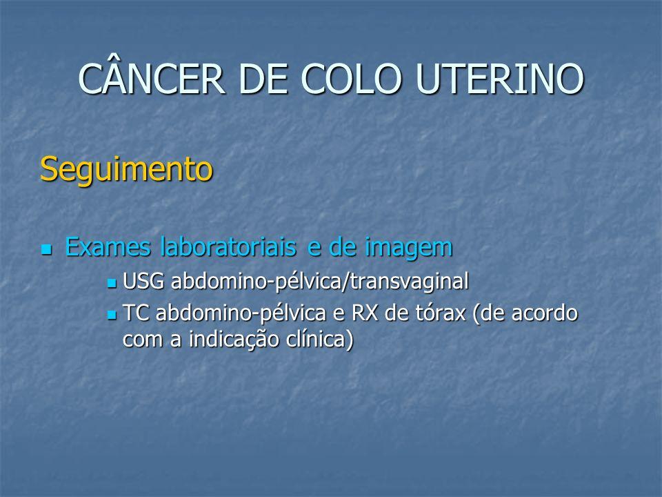 CÂNCER DE COLO UTERINO Seguimento Exames laboratoriais e de imagem Exames laboratoriais e de imagem USG abdomino-pélvica/transvaginal USG abdomino-pél