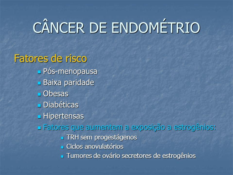 CÂNCER DE ENDOMÉTRIO Fatores de risco Pós-menopausa Pós-menopausa Baixa paridade Baixa paridade Obesas Obesas Diabéticas Diabéticas Hipertensas Hipert