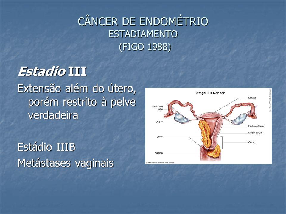CÂNCER DE ENDOMÉTRIO ESTADIAMENTO (FIGO 1988) Estadio III Extensão além do útero, porém restrito à pelve verdadeira Estádio IIIB Metástases vaginais