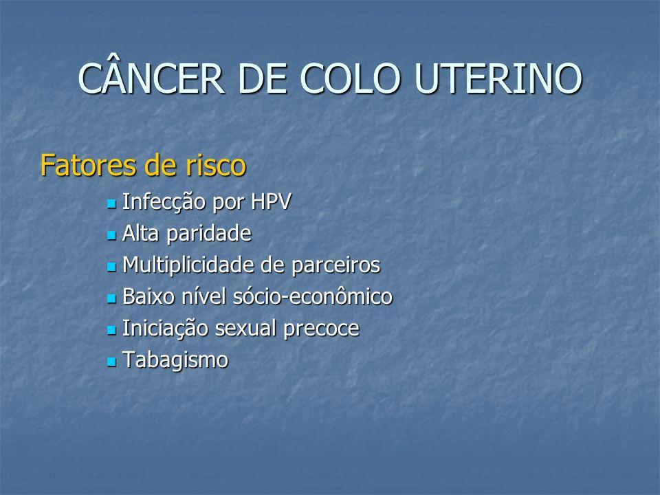 CÂNCER DE COLO UTERINO Diagnóstico Exame ginecológico Exame ginecológico Citologia oncótica Citologia oncótica Colposcopia e biópsia Colposcopia e biópsia Conização diagnóstica (nos microinvasores) Conização diagnóstica (nos microinvasores)