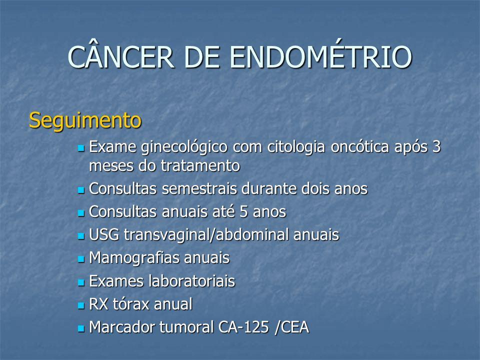 CÂNCER DE ENDOMÉTRIO Seguimento Exame ginecológico com citologia oncótica após 3 meses do tratamento Exame ginecológico com citologia oncótica após 3