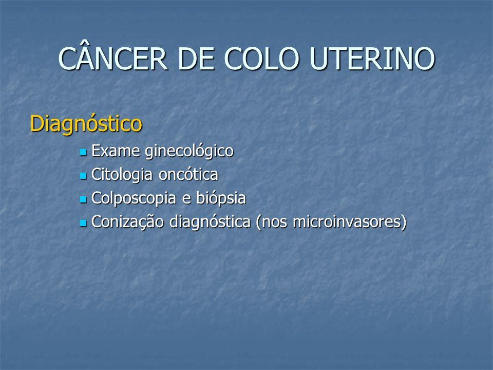 CÂNCER DE COLO UTERINO Exames para todos os estadios Exame físico geral Exame físico geral Exame ginecológico (especular,toque vaginal e retal) Exame ginecológico (especular,toque vaginal e retal) Marcadores virais de hepatite B e C, e anti HIV Marcadores virais de hepatite B e C, e anti HIV Rx de tórax Rx de tórax USG abdomino-pélvica/transvaginal USG abdomino-pélvica/transvaginal Bioquimica pré-operatória Bioquimica pré-operatória