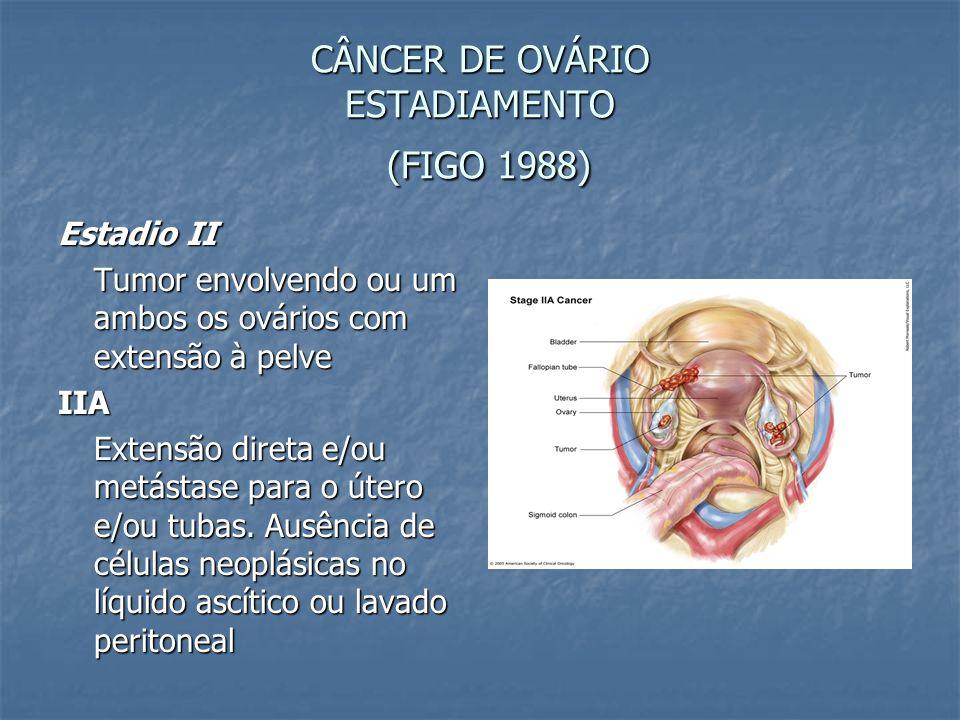 CÂNCER DE OVÁRIO ESTADIAMENTO (FIGO 1988) Estadio II Tumor envolvendo ou um ambos os ovários com extensão à pelve IIA Extensão direta e/ou metástase p