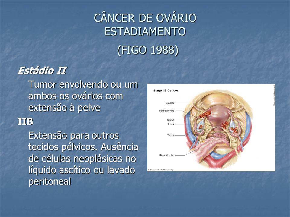 CÂNCER DE OVÁRIO ESTADIAMENTO (FIGO 1988) Estádio II Tumor envolvendo ou um ambos os ovários com extensão à pelve IIB Extensão para outros tecidos pél