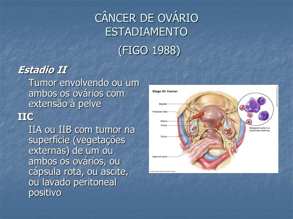 CÂNCER DE OVÁRIO ESTADIAMENTO (FIGO 1988) Estadio II Tumor envolvendo ou um ambos os ovários com extensão à pelve IIC IIA ou IIB com tumor na superfíc