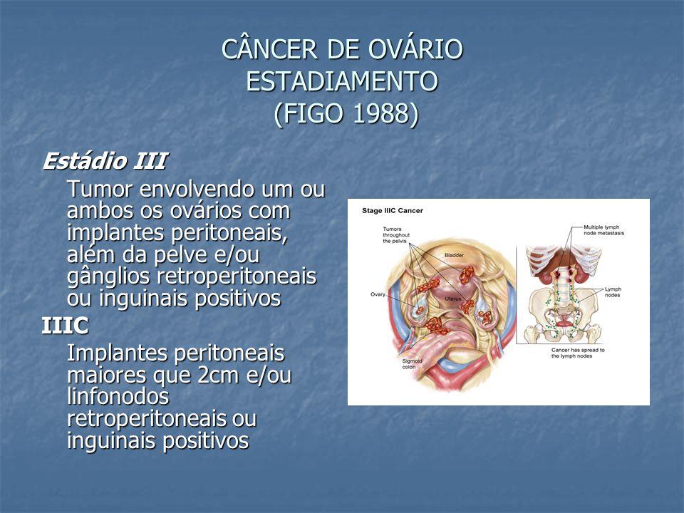 CÂNCER DE OVÁRIO ESTADIAMENTO (FIGO 1988) Estádio III Tumor envolvendo um ou ambos os ovários com implantes peritoneais, além da pelve e/ou gânglios r