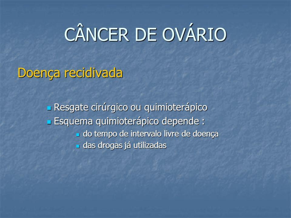 CÂNCER DE OVÁRIO Doença recidivada Resgate cirúrgico ou quimioterápico Resgate cirúrgico ou quimioterápico Esquema quimioterápico depende : Esquema qu