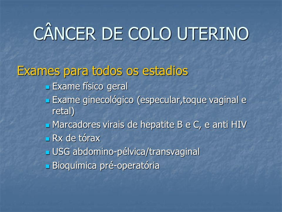 CÂNCER DE COLO UTERINO Estadiamento FIGO 1994 Estadios III Carcinoma se estende à parede pélvica e/ou envolve terço inferior da vagina e/ou presença de hidronefrose ou exclusão renal.