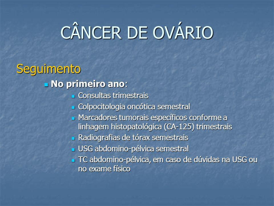 CÂNCER DE OVÁRIO Seguimento No primeiro ano: No primeiro ano: Consultas trimestrais Consultas trimestrais Colpocitologia oncótica semestral Colpocitol