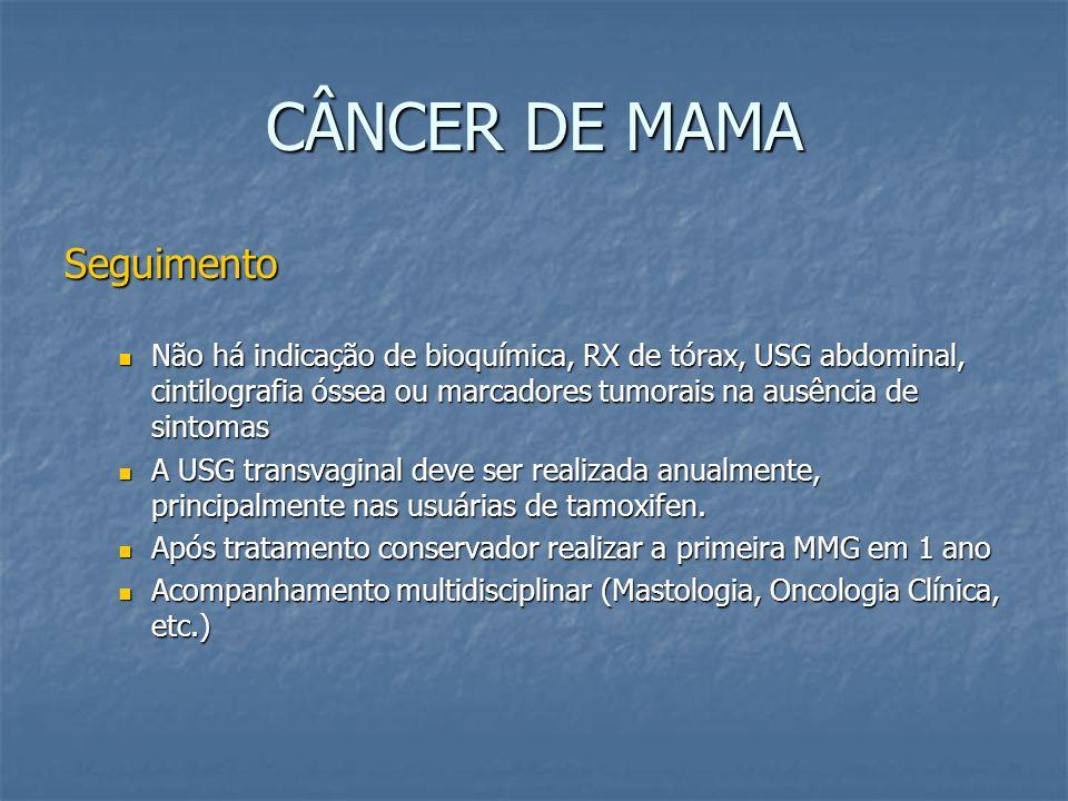 CÂNCER DE MAMA Seguimento Não há indicação de bioquímica, RX de tórax, USG abdominal, cintilografia óssea ou marcadores tumorais na ausência de sintom