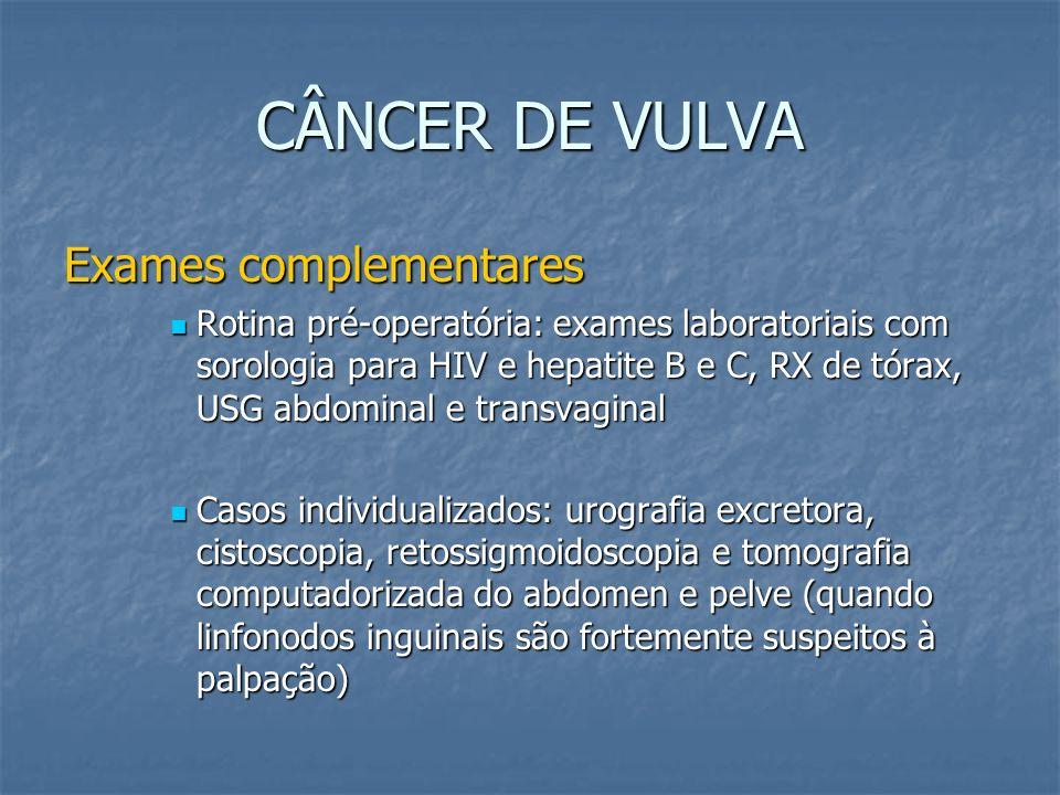 CÂNCER DE VULVA Exames complementares Rotina pré-operatória: exames laboratoriais com sorologia para HIV e hepatite B e C, RX de tórax, USG abdominal