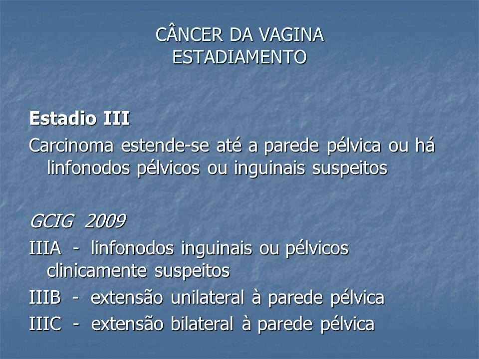 CÂNCER DA VAGINA ESTADIAMENTO Estadio III Carcinoma estende-se até a parede pélvica ou há linfonodos pélvicos ou inguinais suspeitos GCIG 2009 IIIA -