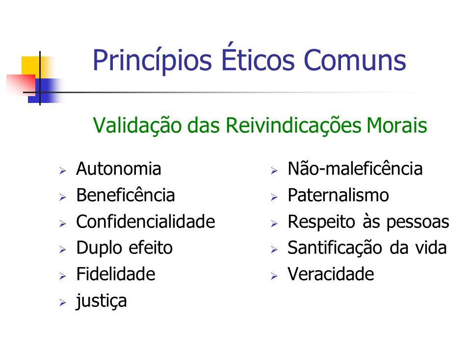 Validação das Reivindicações Morais Autonomia Beneficência Confidencialidade Duplo efeito Fidelidade justiça Não-maleficência Paternalismo Respeito às