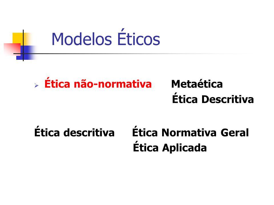 Ética não-normativaMetaética Ética Descritiva Ética descritiva Ética Normativa Geral Ética Aplicada Modelos Éticos