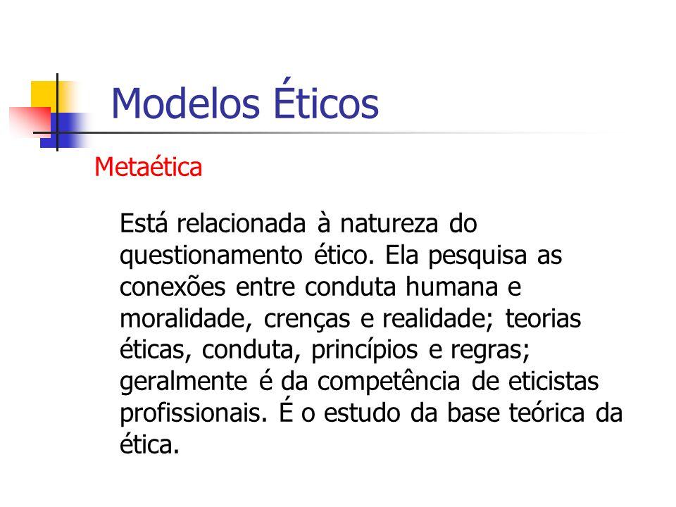 Metaética Está relacionada à natureza do questionamento ético. Ela pesquisa as conexões entre conduta humana e moralidade, crenças e realidade; teoria