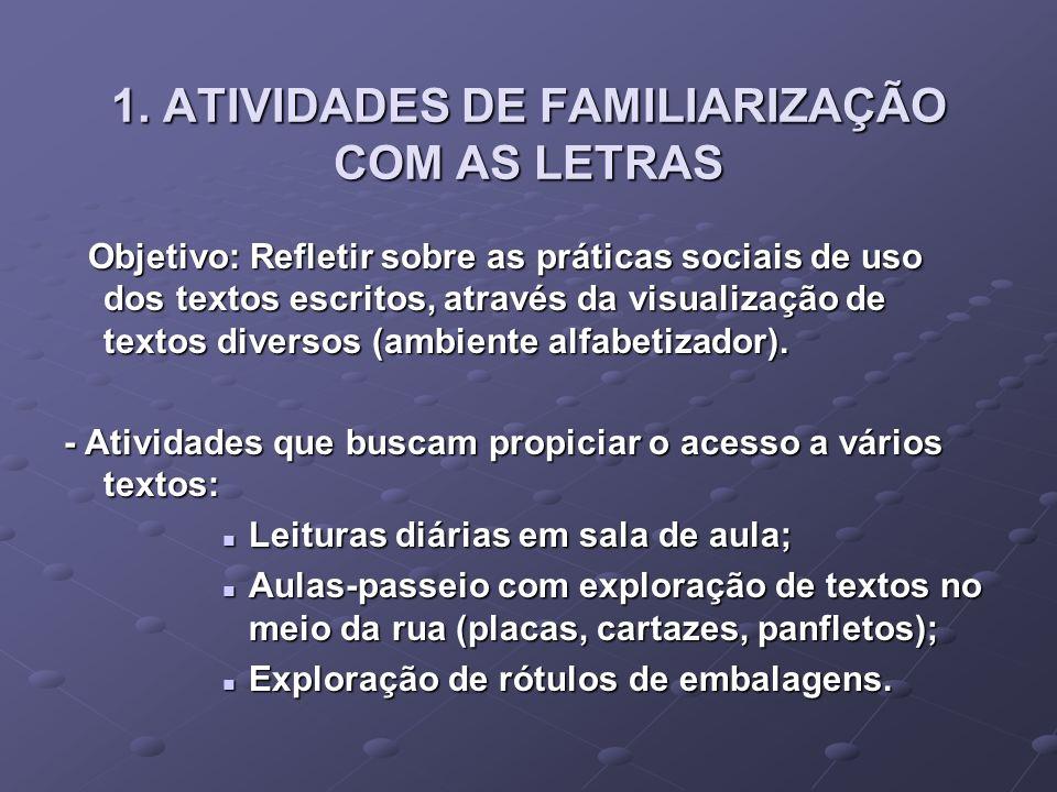 1. ATIVIDADES DE FAMILIARIZAÇÃO COM AS LETRAS Objetivo: Refletir sobre as práticas sociais de uso dos textos escritos, através da visualização de text