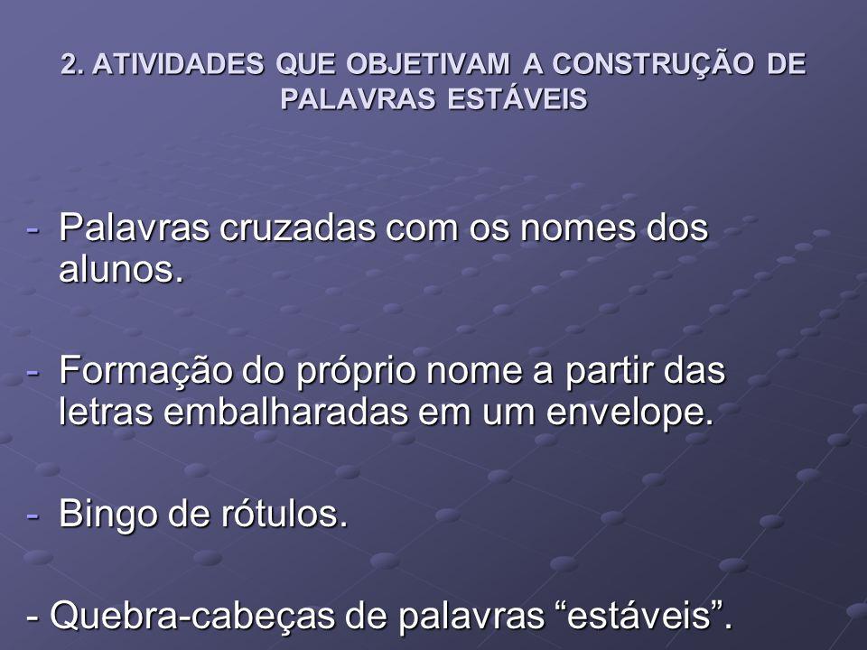 2. ATIVIDADES QUE OBJETIVAM A CONSTRUÇÃO DE PALAVRAS ESTÁVEIS -Palavras cruzadas com os nomes dos alunos. -Formação do próprio nome a partir das letra