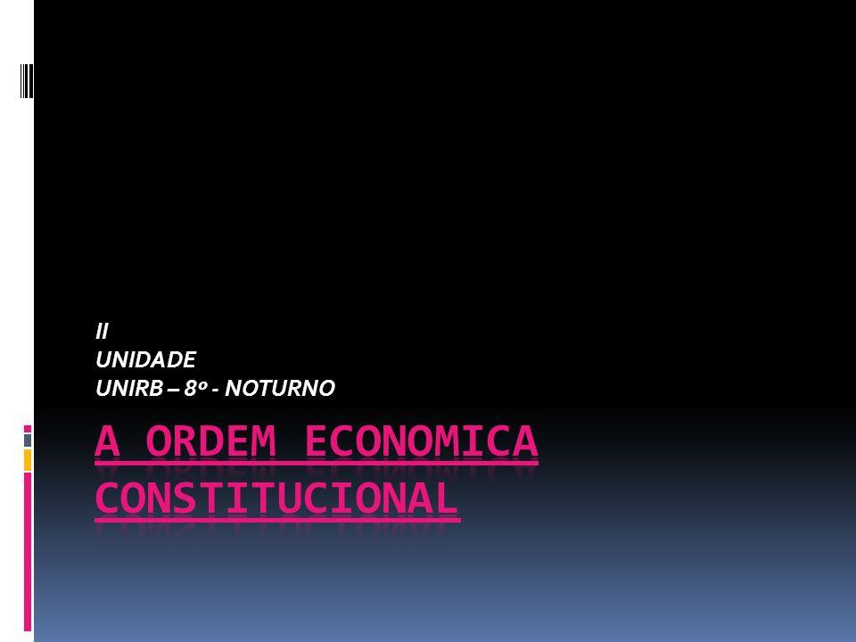 ORDEM ECONOMICA NA CONSTITUIÇÃO DE 1988 6.2 – PROPRIEDADE PRIVADA - Constituição de Weimar; - Aspecto Estático – Interno (ou econômico) e externo (jurídico); - Aspecto dinâmico – É a função que a propriedade desempenha em ambos os mundo, acima mencionados; - Limitação do dir.