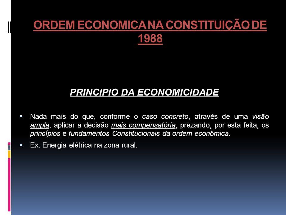 ORDEM ECONOMICA NA CONSTITUIÇÃO DE 1988 PRINCIPIO DA ECONOMICIDADE Nada mais do que, conforme o caso concreto, através de uma visão ampla, aplicar a d