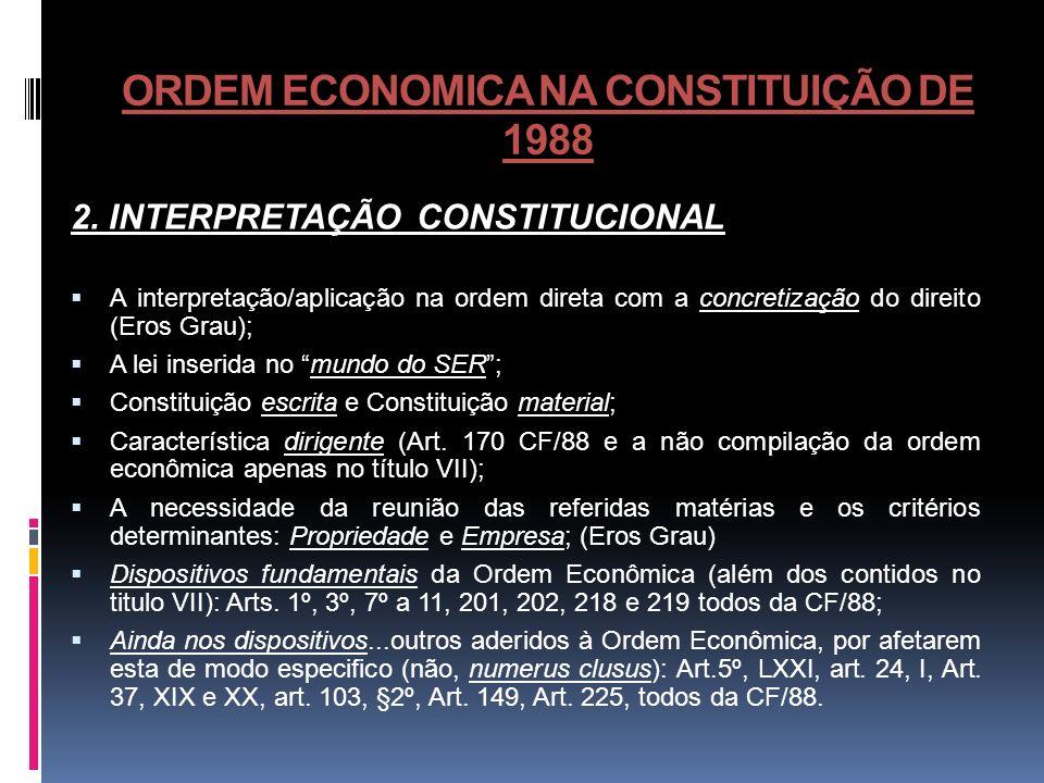 ORDEM ECONOMICA NA CONSTITUIÇÃO DE 1988 2. INTERPRETAÇÃO CONSTITUCIONAL A interpretação/aplicação na ordem direta com a concretização do direito (Eros