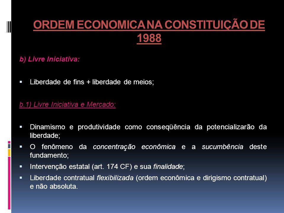 ORDEM ECONOMICA NA CONSTITUIÇÃO DE 1988 b) Livre Iniciativa: Liberdade de fins + liberdade de meios; b.1) Livre Iniciativa e Mercado: Dinamismo e prod