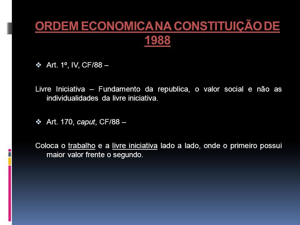 ORDEM ECONOMICA NA CONSTITUIÇÃO DE 1988 Art. 1º, IV, CF/88 – Livre Iniciativa – Fundamento da republica, o valor social e não as individualidades da l