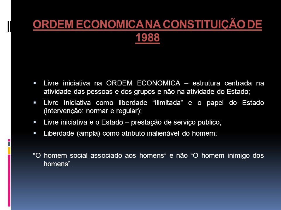 ORDEM ECONOMICA NA CONSTITUIÇÃO DE 1988 Livre iniciativa na ORDEM ECONOMICA – estrutura centrada na atividade das pessoas e dos grupos e não na ativid