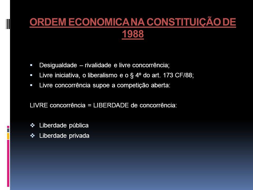 ORDEM ECONOMICA NA CONSTITUIÇÃO DE 1988 Desigualdade – rivalidade e livre concorrência; Livre iniciativa, o liberalismo e o § 4º do art. 173 CF/88; Li