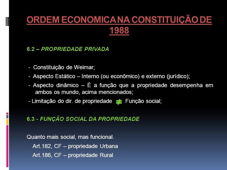 ORDEM ECONOMICA NA CONSTITUIÇÃO DE 1988 6.2 – PROPRIEDADE PRIVADA - Constituição de Weimar; - Aspecto Estático – Interno (ou econômico) e externo (jur